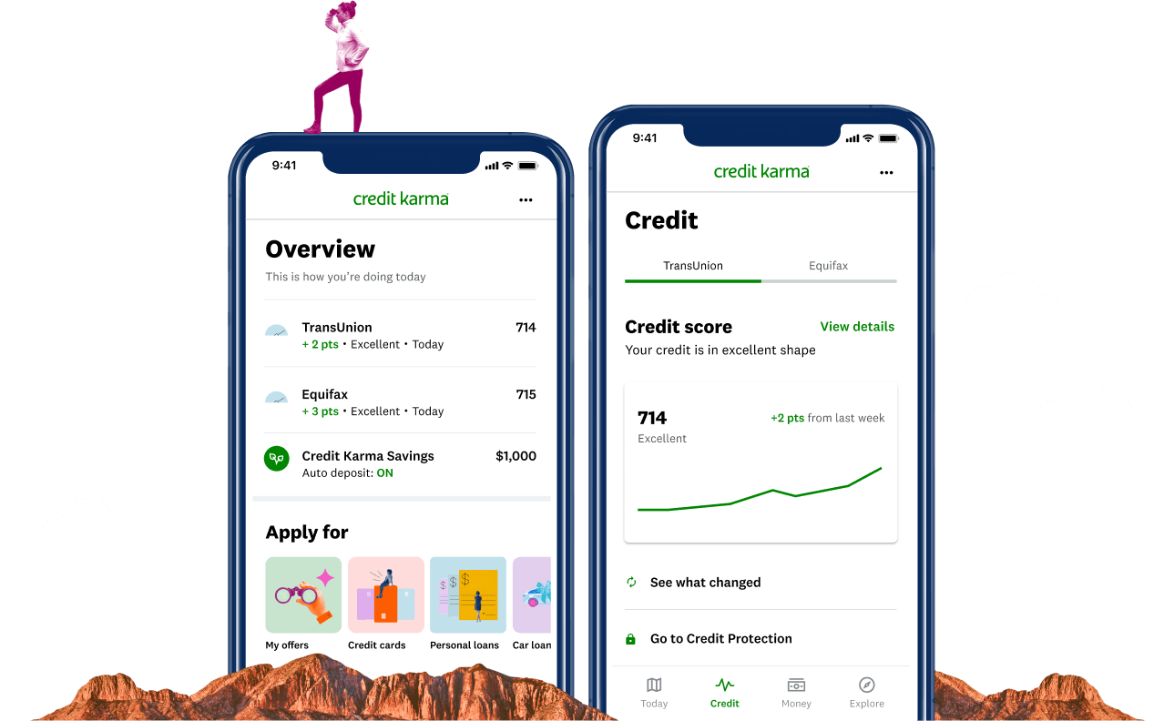 Credit Karma app interface showing credit scores and product offers