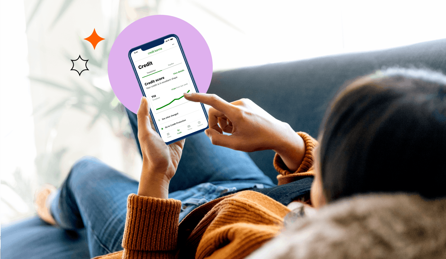 person scrolling through Credit Karma app