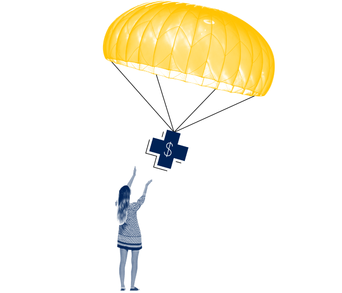parachute with relief symbol dropping down to figure of a girl