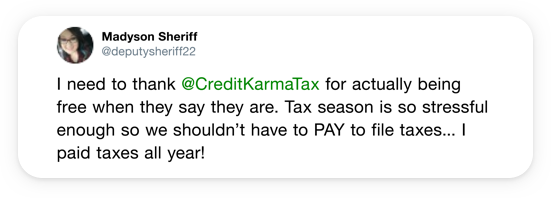 I need to thank @CreditKarmaTax for actually being free when they say they are.