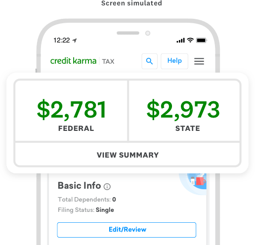 Credit Karma Tax on phone with tax return estimates